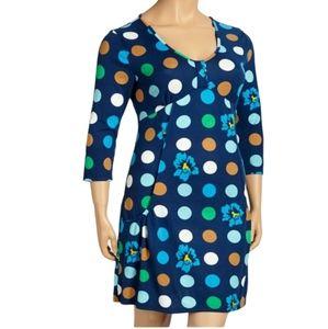 Womens Blue Polka Dot Floral Empire-Waist Dress